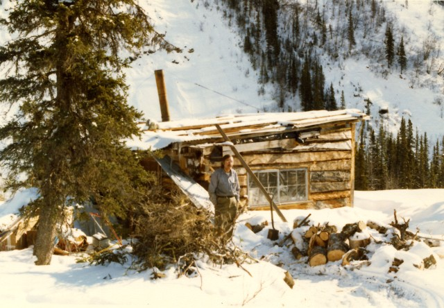 Loy at his cabin up McCarthy Creek