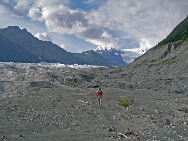 Marci on recently deglaciated Root Glacier moraine