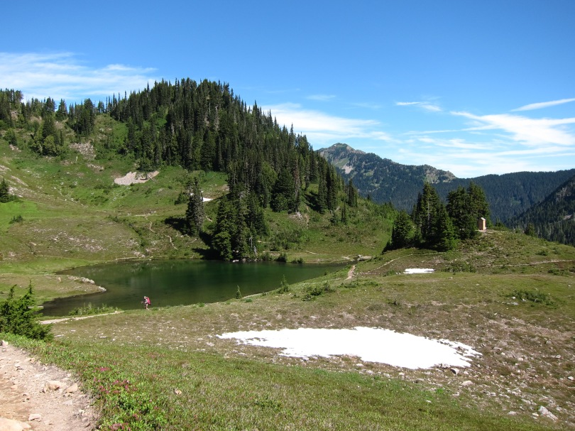 Heart Lake. Unlike many heavily visited alpine areas, vegetation around the lake shore is largely untrampled.