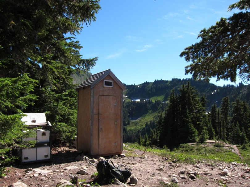 Heart Lake privy outhouse with helicopter-ready poop containers