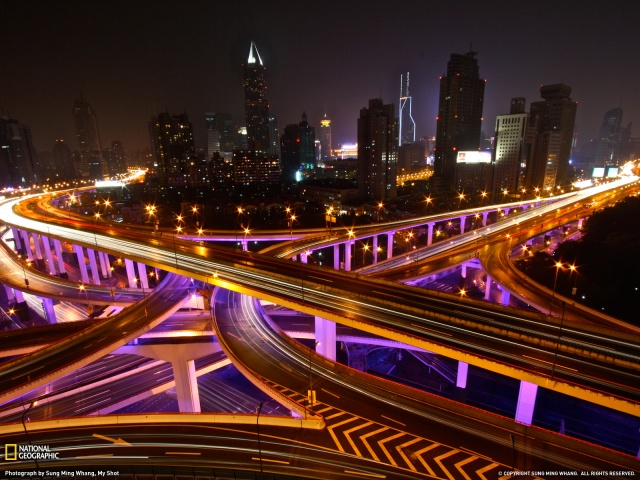 Shanghai freeways at night Photo by Sung Ming Whang National Geographic
