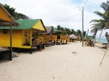 One of several small lodges on the windward beach