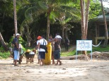 Moving supplies from the beach to the upscale resort Yemaya