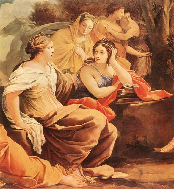 Muses at Parnassas detail from a painting by Simon Vouet, circa 1640, Museum of Fine Arts, Budapest